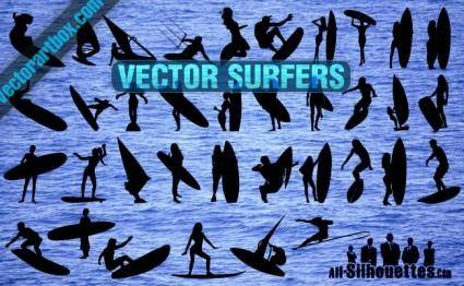 Vector Surfers Clipart