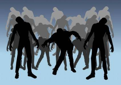 free vector Zombies Silhouettes