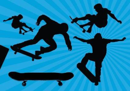 free vector Skateboard Silhouette Vectors