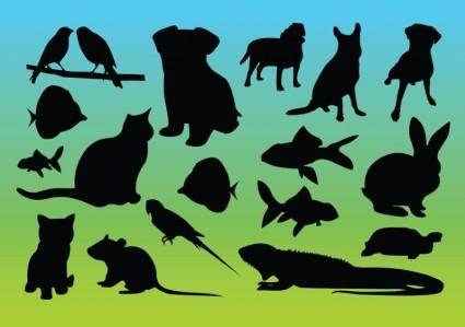 free vector Animal Silhouettes Vectors