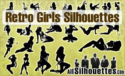 free vector Retro Girls Silhouettes