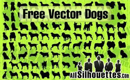 free vector Vector Dogs Silhouettes