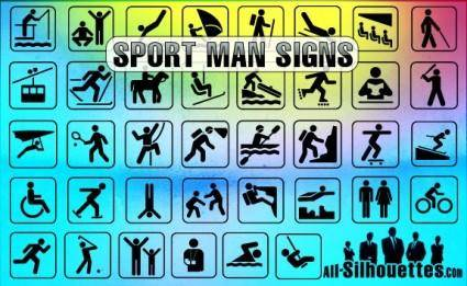 free vector Sport Man Signs
