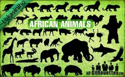 Vector African Animals Silhouettes