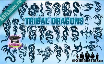free vector Tribal Dragons