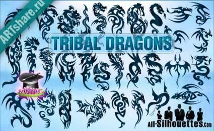 free vector Tribal Dragons