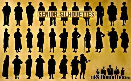 free vector Senior Silhouettes