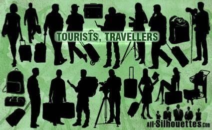 free vector Vector Tourists Travelers Silhouettes