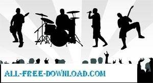 free vector Band Musics Silhouette