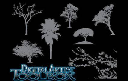 free vector 7 Tree Silhouettes