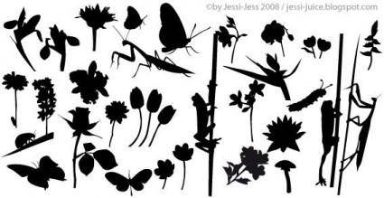free vector Plant silhouettes vector