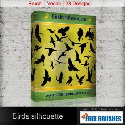 free vector Birds silhouettes free vector and photoshop brush