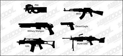 free vector Vector silhouette guns material