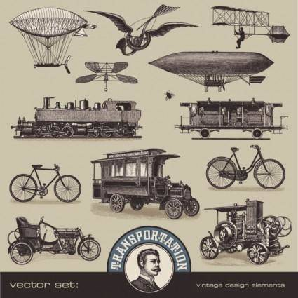 European and american vintage transport 02 vector