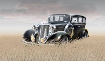 Grass in the old car vector