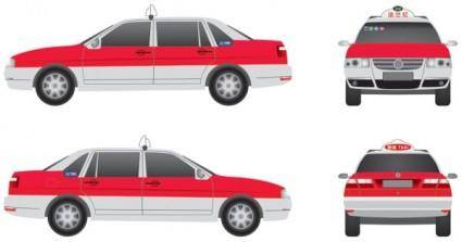 free vector Shanghai santana zhijun red taxi threeview painting flange version original