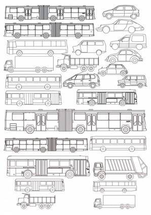 Vector line drawing all kinds of automotive bus