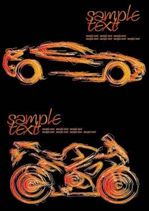 free vector Car and motorcycle vector strokes