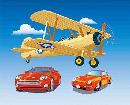 Aircraft and cars vector