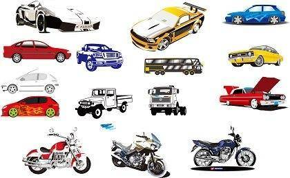 free vector 15 Vector Motorcycle and Car