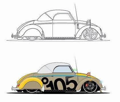 free vector Beatle Car Vector