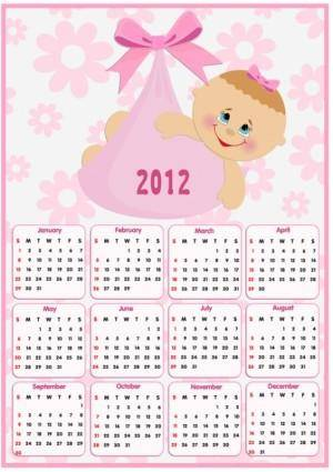 Beautiful 2012 calendar 01 vector