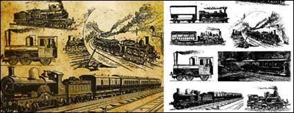 Vector old European train