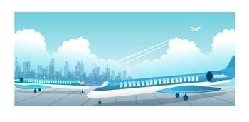 free vector Commercial Flight On Airport