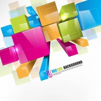 free vector Dynamic threedimensional color box vector