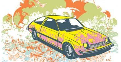 free vector Colour background with car