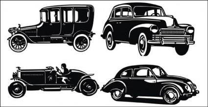 free vector Old car silhouettes free vector