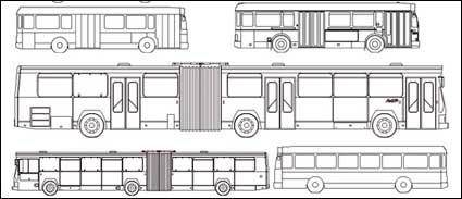 Kinds of line drawing car bus vector