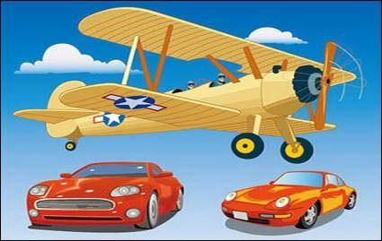 free vector Vehicle Vector Material??Propeller-driven aircraft and sport car