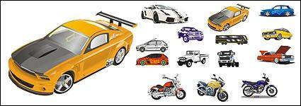 free vector Automobile and motorcycle vector material