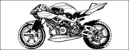 free vector Black and white motorcycle vector material