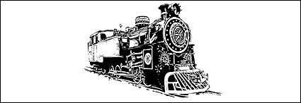 Black and white locomotive vec
