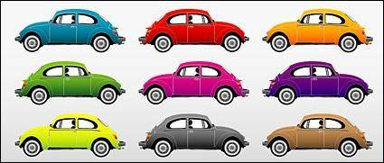 free vector Colorful classic cars vector material