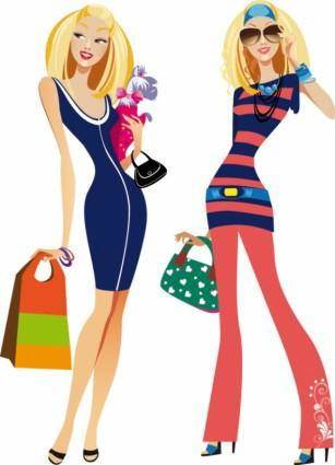 free vector Fashion women illustrator 02 vector