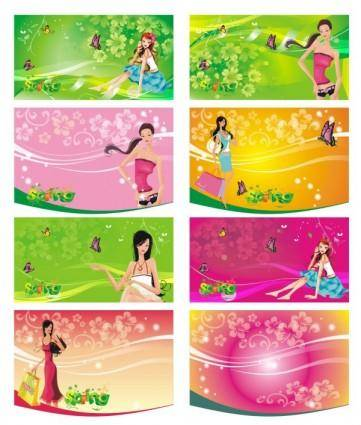 free vector The shopping women supermarkets tag vector