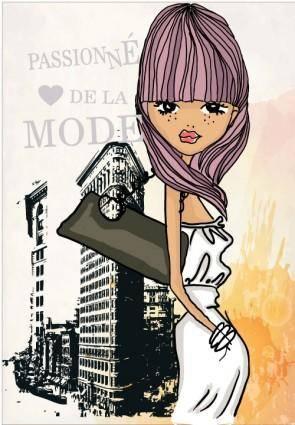 free vector Fashion shopping girl 03 vector
