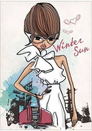 free vector Fashion shopping girl 02 vector