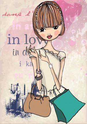 free vector Fashion shopping girl 05 vector