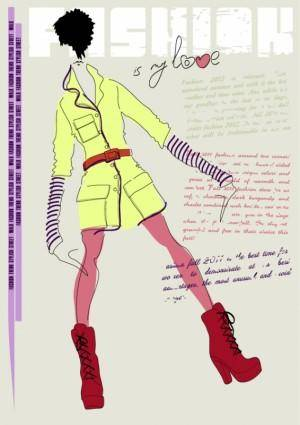 free vector Girls fashion illustrator 01 vector