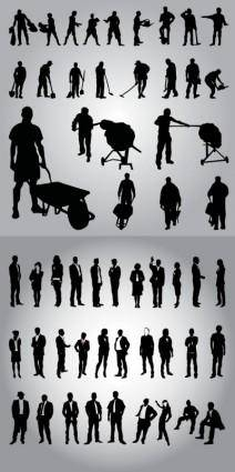 Business people and workers in silhouette vector