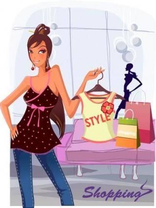 free vector Fashion women shopping clip 2
