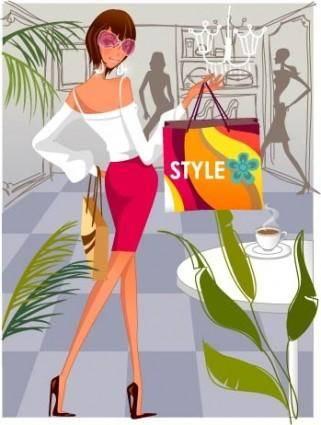 free vector Fashion women shopping 4