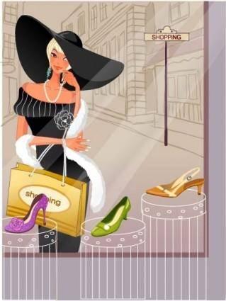 free vector Fashion women shopping 5