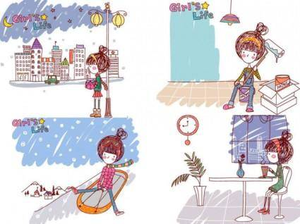 free vector Girl life vector eps girl life9