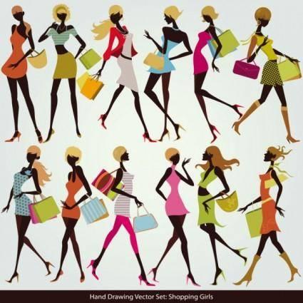 free vector Shopping girl 05 vector
