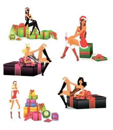 free vector Sexy christmas girls vector